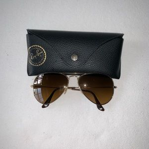 Ray Ban Brown /Gold Aviator Sunglasses